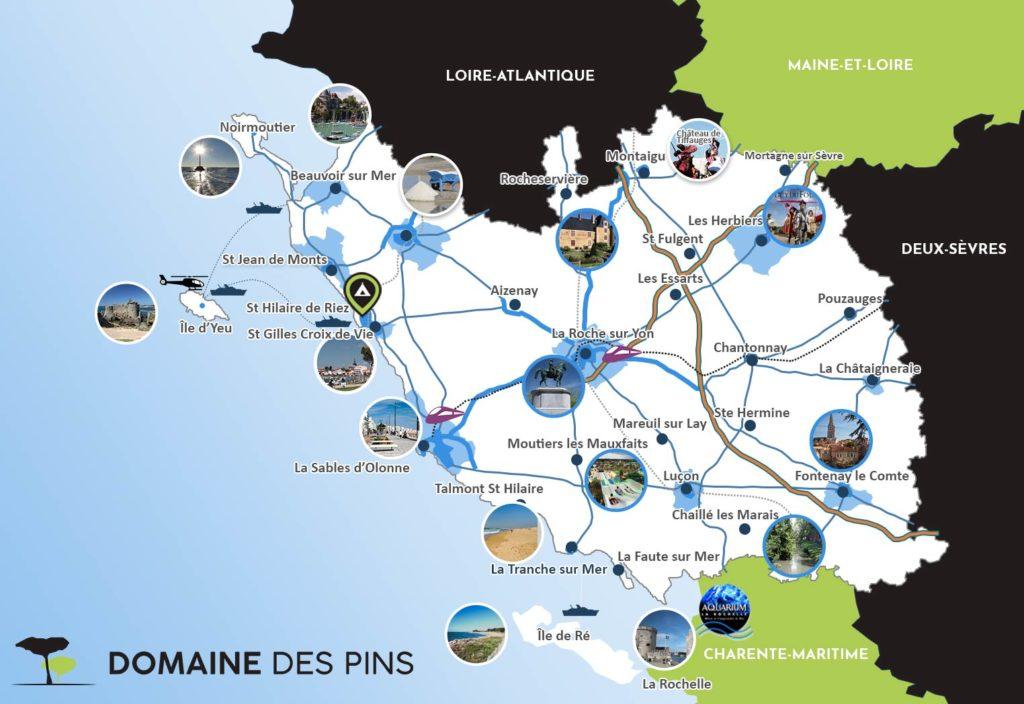 Carte de Vendée touristiques